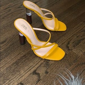Yellow trendy Zara  heels